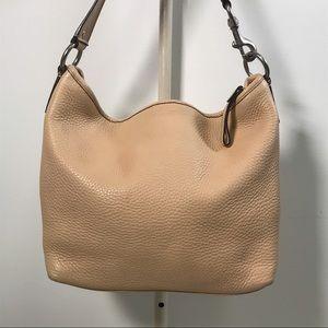 Coach Beige Pebble Leather Hobo Shoulder Bag